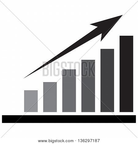 Stock Market growth bar graph computer icon symbol success