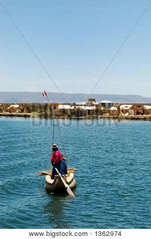 Local From A Uros Island On Lake Titicaca