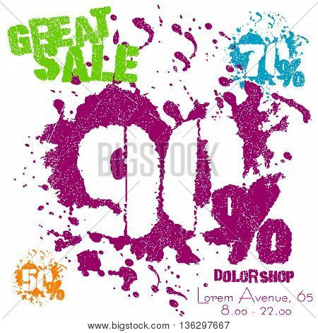 Grunge sale poster with colorful splashes on white. Great sale numbers in spatters with 50 70 or 90 percent. Vector illustration