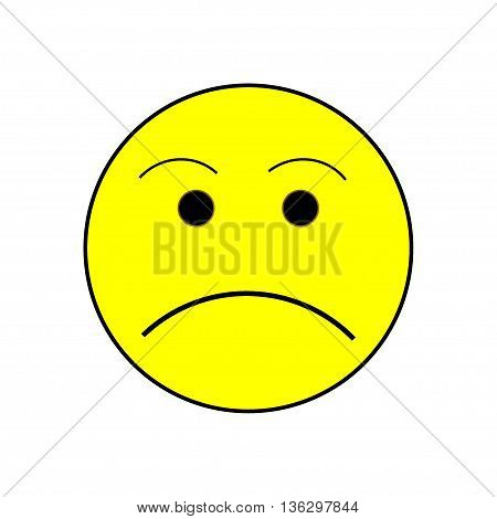 Smile angry sign on white background. Isolated on white background. Symbol grumpy. Sadness picture . Yellow sticker illustration. Vector illustration.