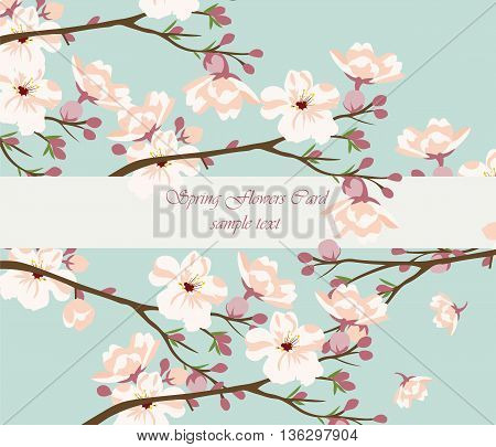 Vintage Watercolor Background with Blooming Cherry Flowers. Flower blossom tree branch on blue color. Vintage background for textile texture wallpaper invitation greeting cards wedding etc
