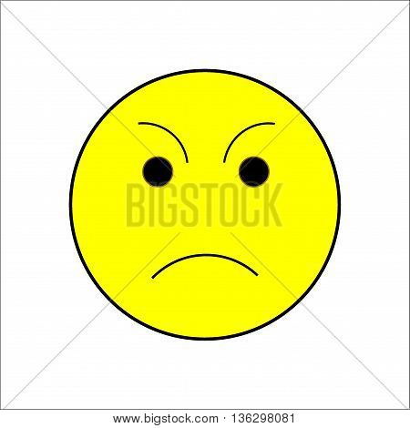 Smile sad sign on white background. Isolated on white background. Symbol sad mood. Displeased mark. Cute picture. Yellow sticker illustration. Vector illustration