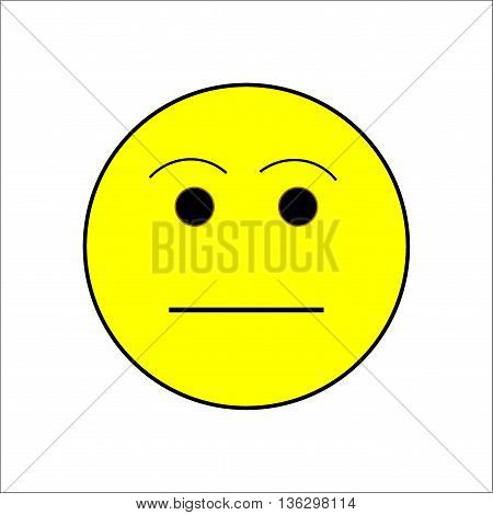Smile calm sign on white background. Isolated on white background. Symbol balanced. Mark unsmiling. Cute picture. Yellow sticker illustration. Vector illustration.