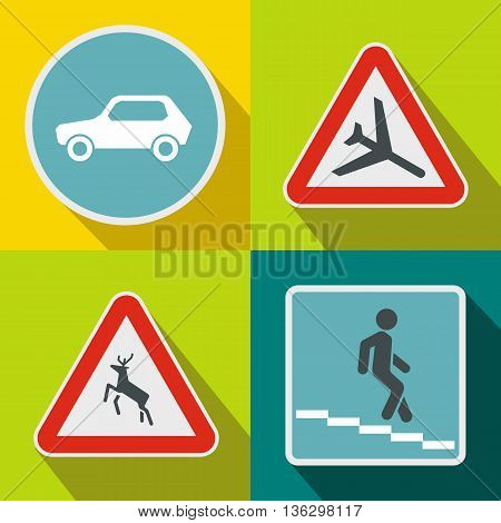 Road Sign banners set in flat style for any design