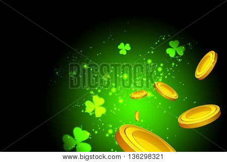 Lucky clovers, casino coins flying at the viewer on a green background