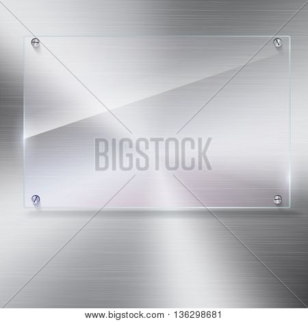 Vector glass frame with steel rivets. Glass framework. Transparent glass frame on the background of polished metal.
