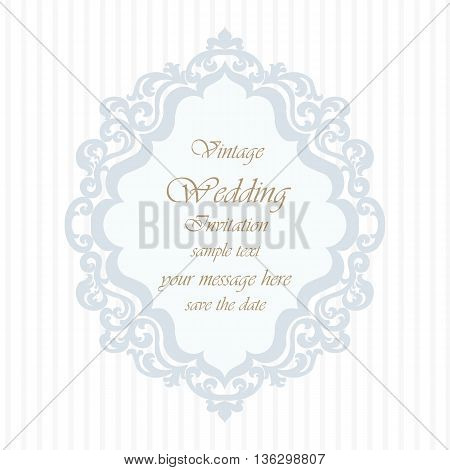 Wedding Invitation card with lace ornament. Blue serenity color. Vector