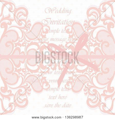Wedding Invitation card with lace ornament and bow. Rose quartz color. Vector