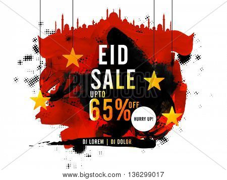 Eid Sale with Discount, Sale Poster, Sale Banner, Sale Flyer, Upto 65% Off, Creative Sale Background with mosque, hanging stars and abstract watercolor brush stroke.