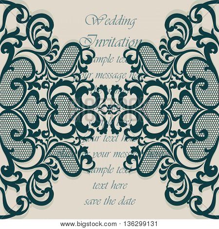 Wedding Invitation card with lace ornament. Green arctic color. Vector