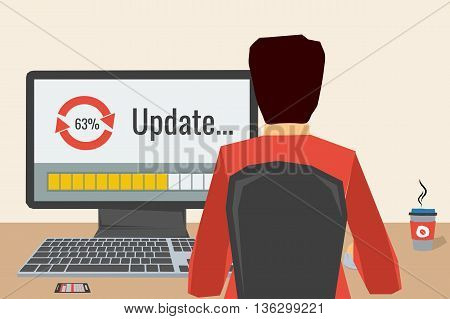 Man working on internet using computer where update software. He drinking coffee. Vector concept work at home freelance update process. Flat style. Web infographics. Back view