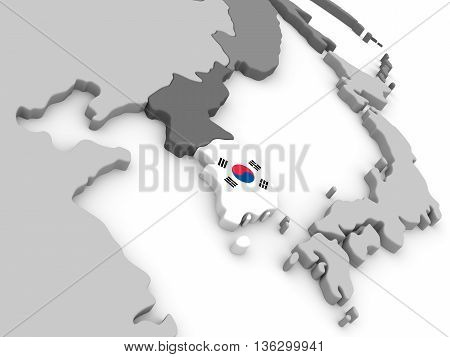 South Korea On Globe With Flag
