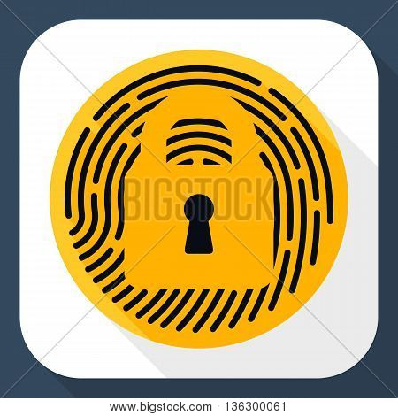 Vector Touch Id Fingerprint Icon. Touch Id Fingerprint Simple Icon In Flat Style With Long Shadow