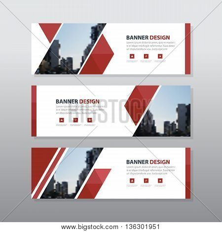 Red triangle abstract corporate business banner template horizontal advertising business banner layout template flat design set clean abstract cover header background for website design
