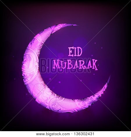 Beautiful Floral Crescent Moon on shiny purple background, Elegant Greeting Card design for Islamic Holy Festival, Eid Mubarak celebration.
