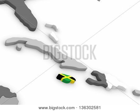 Jamaica On Globe With Flag
