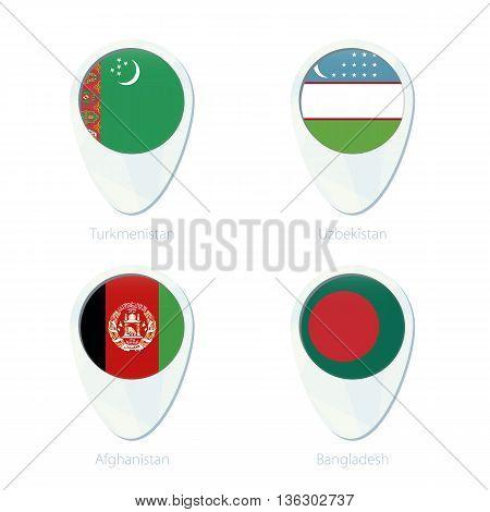 Turkmenistan, Uzbekistan, Afghanistan, Bangladesh Flag Location Map Pin Icon.