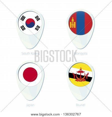 South Korea, Mongolia, Japan, Brunei Flag Location Map Pin Icon.
