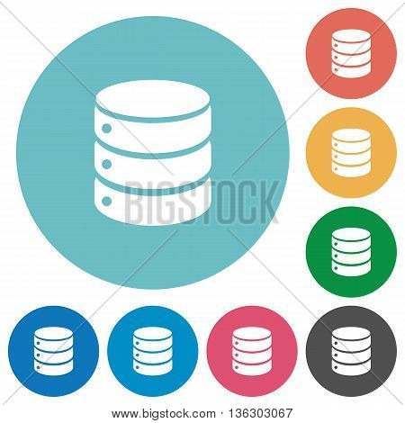 Flat database icon set on round color background.