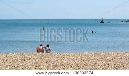 Pebbles on Jurassic Coast in Lyme Regis Dorset