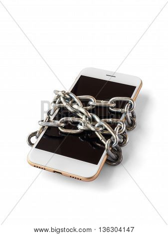 Modern mobile phone with chain locked isolate on white background with clipping path. Concept of social network issues forgot password information security robbery or piracy (Vertical)