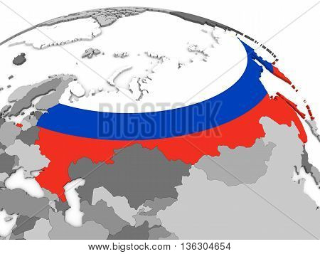 Russia On Globe With Flag