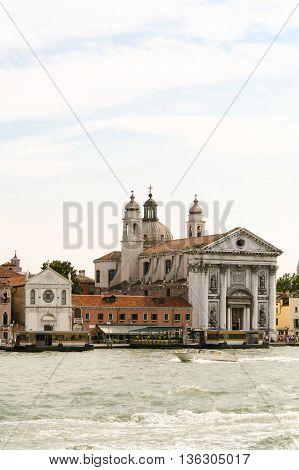 View from the water on gesuati Santa Maria del Rosario Venice.