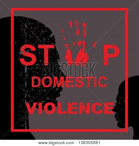 Stop domestic violence against women concept. Vector illustration