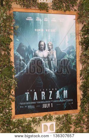 LOS ANGELES - JUN 27:  The Legend of Tarzan Movie Poster at The Legend Of Tarzan Premiere at the Dolby Theater on June 27, 2016 in Los Angeles, CA