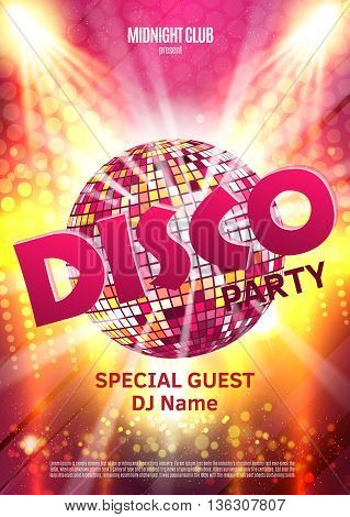 Disco party poster. Background party with disco ball.