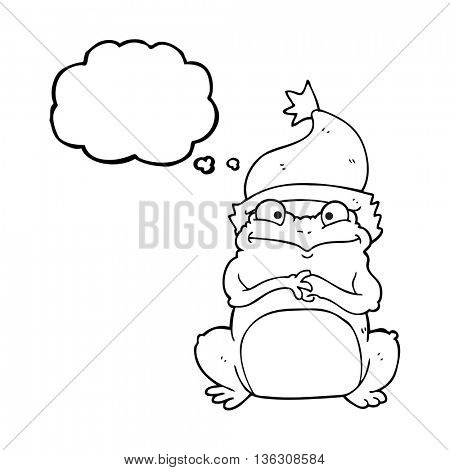 freehand drawn thought bubble cartoon frog wearing christmas hat
