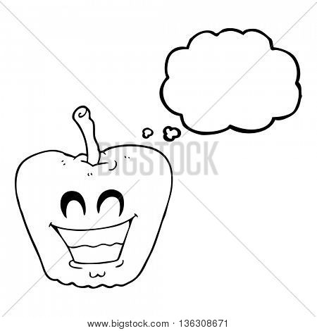 freehand drawn thought bubble cartoon grinning apple