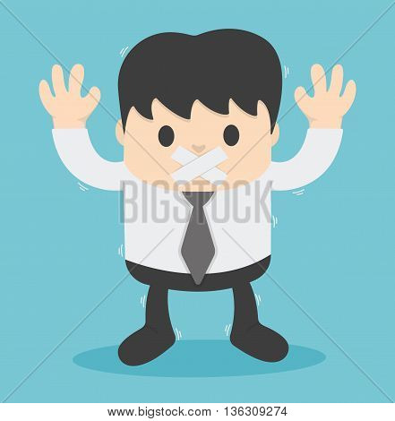 Businessman with tape on his mouth Illustration Concept