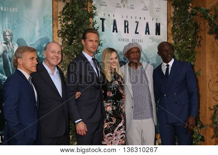 LOS ANGELES - JUN 27:  Christoph Waltz, D Yates, Alexander Skarsgard, Margot Robbie, Sam Jackson, Djimon Hounsou at The Legend Of Tarzan Prem at the Dolby Theater on June 27, 2016 in Los Angeles, CA