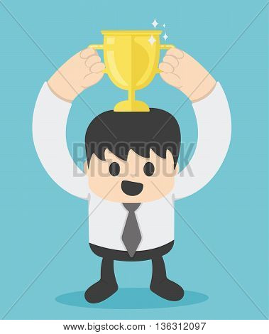 Successful businessman with gold cup Illustration Concept