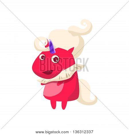 Red Unicorn In Futuristic Costume Flat Bright Color Childish Cartoon Design Vector Illustration Isolated On White Background