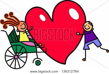 A doodle sketch of a little girl in a wheelchair holding a giant love heart with a boy friend.