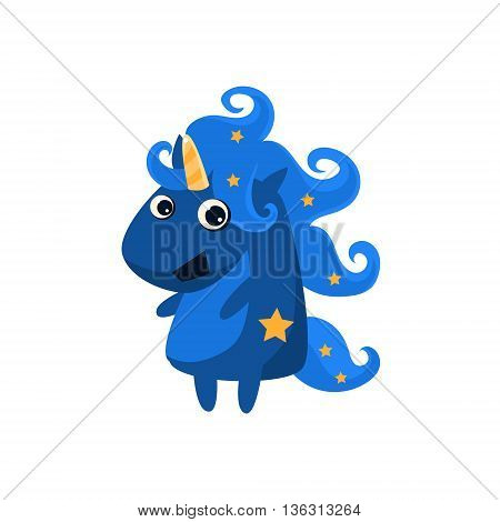 Blue Night Unicorn With Stars Flat Bright Color Childish Cartoon Design Vector Illustration Isolated On White Background