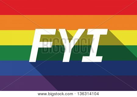 Vector Long Shadow Gay Pride Flag With    The Text Fyi