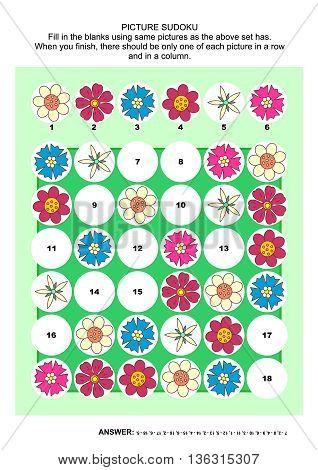 Picture sudoku puzzle 6x6 (one block) with flower heads. Answer included.