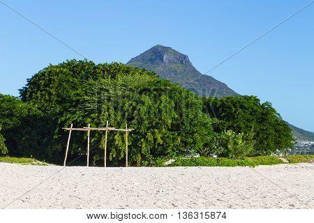 Beach Of Flic En Flac Overlooking Tourelle Du Tamarin Mauritius