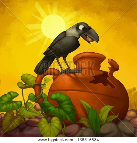 Thirsty Crow looking in search of water
