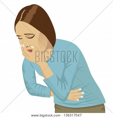 closeup portrait of sick young woman about to throw up, vomit isolated on a white background