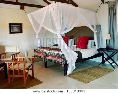 BAGATELLE NAMIBIA - JAN 23 2016: Accommodation unit interior at Bagatelle Kalahari Game Ranch. The lodge lies on the edge of the Southern Kalahari in the mixed tree and shrub Savanna.
