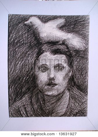 women with dove on head