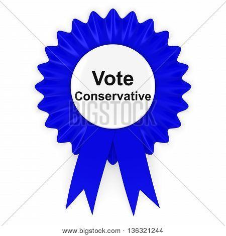 Vote Conservative UK Elections Rosette Badge 3D Illustration