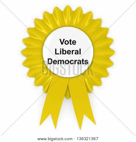 Vote Liberal Democrats UK Elections Rosette Badge 3D Illustration