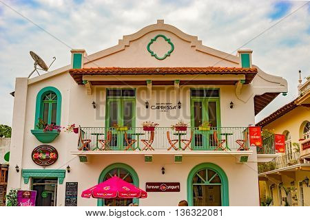 Panama City Panama - May 15 2016: View at the facade of the old renovated house in Casco Antiguo in Panama City.