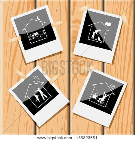 4 images: home bedroom, cat, watching TV, dog. Home set. Photo frames  on wooden desk. Vector icons.