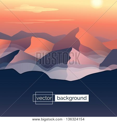 Flat design vector illustration. Landscape with mountains, sun and clouds in gradient colors. Template of banner backdrop, poster or splash screen in cartoon style. Screensaver design. Game background